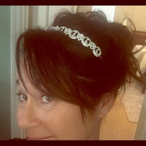 Sterling silver and crystal headband